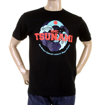 RMC Jeans RQT11075 Crew Neck Black Tsunami Regular Fit Short Sleeve T-Shirt REDM0966
