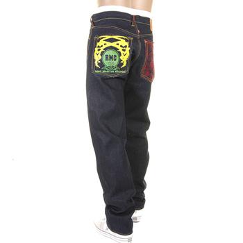 RMC Jeans 1001 Model Genuine Embroidered Tsunami Wave Slim Cut Painted Logo Dark Indigo Raw Denim Jeans REDM1169