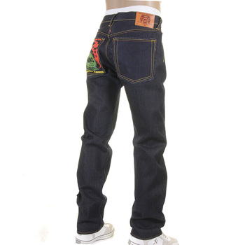 RMC Jeans Super Exclusive Embroidered Tsunami Wave Painted Logo Dark Indigo Slim Cut Raw Denim Jeans REDM1309