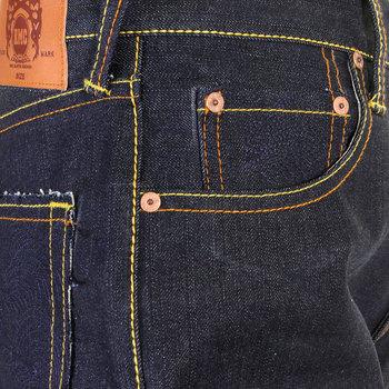 RMC Jeans Genuine Dark Indigo 1001 Model Slim Cut Tsunami Wave Embroidered Painted Logo Raw Denim Jeans REDM1309