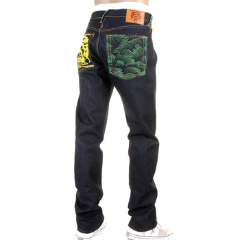 RMC Jeans Rare 1001 Model Embroidered Tsunami Wave Slim Cut Painted Logo Raw Denim Dark Indigo Jeans REDM1425