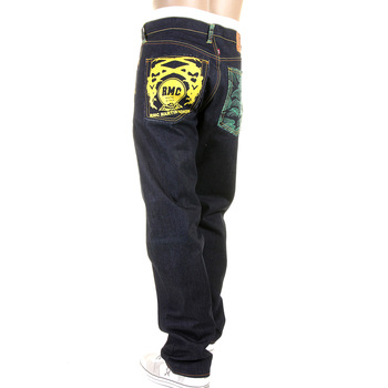 RMC 1001 Model Authentic Slim Cut Painted Logo Tsunami Wave Embroidered Dark Indigo Raw Denim Jeans REDM1425