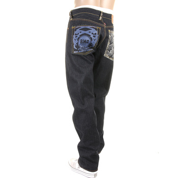 RMC Authentic 1001 Model Slim Cut Tsunami Wave Embroidered Logo Painted Dark Indigo Raw Denim Jeans REDM1473