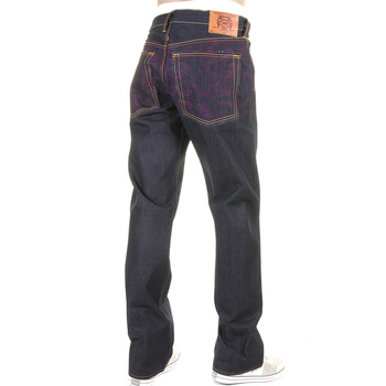 RMC Jeans Vintage Cut Raw Denim Dark Indigo Jeans with Full Back Embroidered Tsunami Wave in Purple REDM1773