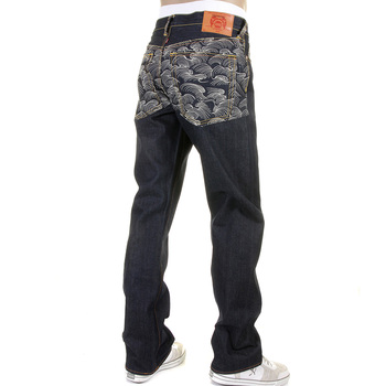 RMC Martin Ksohoh Rare Vintage Cut Dark Indigo Raw Denim Jeans with Off White Tsunami Wave Embroidery REDM1787
