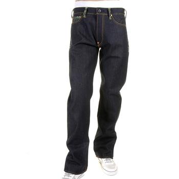 RMC Martin Ksohoh Authentic Green Tsunami Wave Embroidered Dark Indigo Vintage Cut Raw Denim Jeans REDM1881