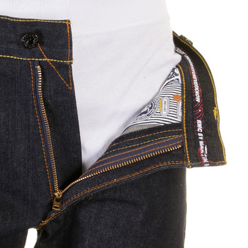 RMC Martin Ksohoh Exclusive Blue Tsunami Wave Embroidered Dark Indigo Vintage Cut Raw Denim Jeans REDM1910