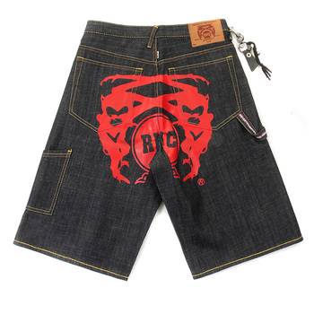 RMC Jeans 100% Cotton LOGOA Mens Cargo Denim Shorts with Super Exclusive Red Painted Logo REDM3732