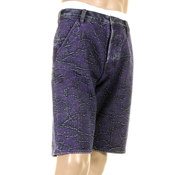 RMC Jeans Genuine Selvedge Denim Shorts with Super Exclusive Purple Tsunami Wave Embroidery REDM3740