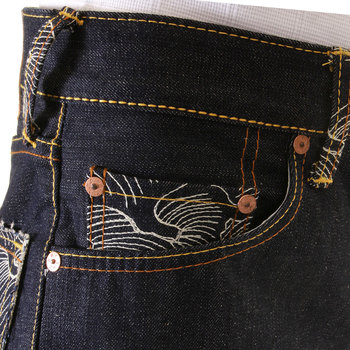 RMC Dark Indigo Slimmer Cut 1001 Model Rock N Roll 888 and Tsunami Wave Embroidered Raw Denim Jeans REDM4604