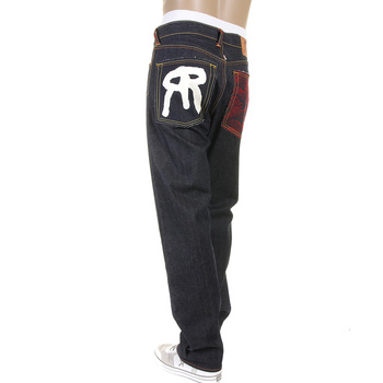 RMC Jeans Dark Indigo 1001 Model Slimmer Cut 888 Raw Denim Jeans with R&R and Tsunami wave Embroidery REDM5035