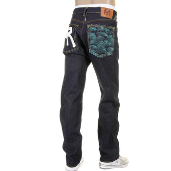 RMC Dark Indigo Slimmer Cut 1001 Model Rock N Roll 888 and Tsunami Wave Embroidered Raw Denim Jeans REDM5036