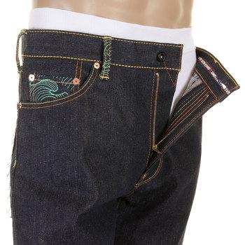 RMC Slimmer Cut 1001 Model Dark Indigo 888 Raw Denim Jeans with Rock N Roll and Tsunami wave Embroidery REDM5036
