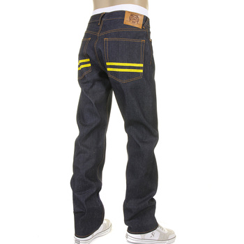 RMC Super Exclusive Yellow Hand Painted Dark Indigo Slim Cut 1001 Model Raw Denim Jeans for Men REDM5648