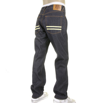RMC Jeans Hand Painted Off White Dark Indigo Slim Fit 1001 Model Selvedge Raw Denim Jeans for Men REDM5652