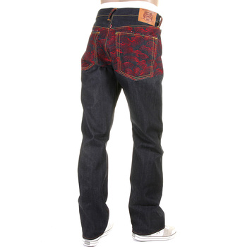 RMC Jeans Rare Scarlet Tsunami Wave Full Back Embroidered Genuine Raw Vintage Cut Denim Jeans REDM6311