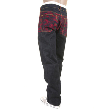 RMC Jeans Genuine Vintage Cut Raw Denim Jeans with Scarlet Tsunami Wave Full Back Embroidery REDM6311