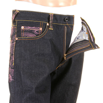 RMC Jeans Genuine Exclusive Vintage Cut Raw Denim Jeans with Enchanted Pink Tsunami Embroidery REDM6315
