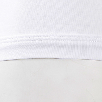 RMC RQU12007 White Stretch Cotton Trunks With Deep Elasticated White Waistband and Black Woven Logo RMC001