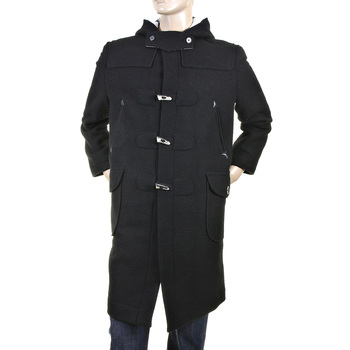 RMC Jeans Mens Regular Fit Fishermans Duffle Coat in Black Wool RMC2336