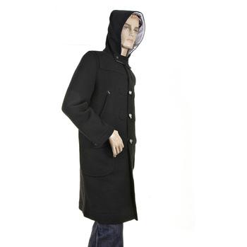 RMC Jans Mens Black Wool Regular Fit Fishermans Duffle Coat RMC2336