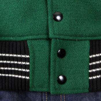 Whitesville Dark Green Body with Black Leather Sleeve WV12310 Regular Fit Varsity Jacket WHIT1092