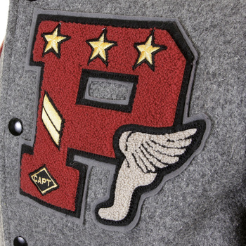 Whitesville Letterman Grey Body Black Leather Sleeve WV12310 Regular Fit Philadelphia Stadium Jacket WHIT1085