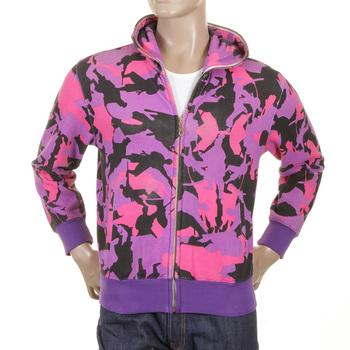 RMC Jeans Purple Black and Pink Regular Fit Hooded RJK3663 Zipped Samurai Camo Sweatshirt REDM1017