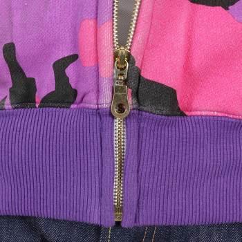 RMC Martin Ksohoh Purple RJK3663 Pink and Black Samurai Camo Zipped Regular Fit Hooded Sweatshirt REDM1017