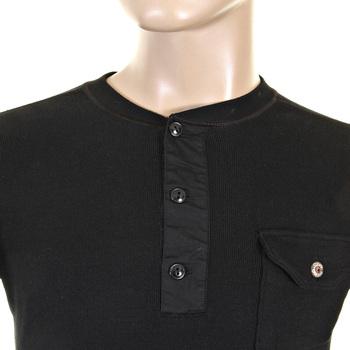 Sugarcane Black Fiction Romance SC65293 Regular Fit Henley Neck Long Sleeve T-shirt for Men CANE1083