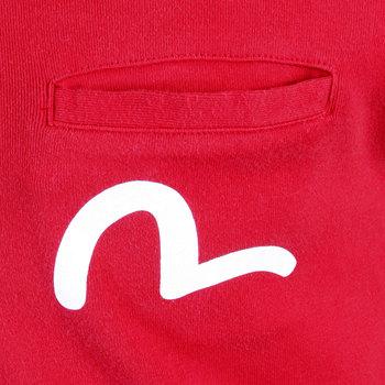Evisu Short Sleeve Regular Fit Fine Ribbed Crew Neck T Shirt in Red EVIS0721