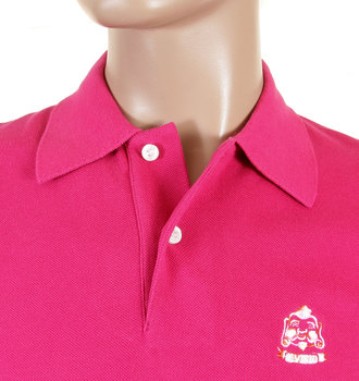 Evisu Short Sleeve Regular Fit Dark Pink Polo Shirt with Two Logo Embossed Pearlised Buttons EVIS0718