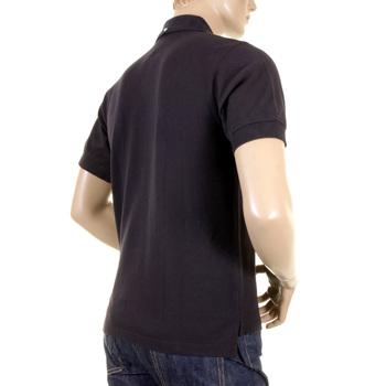 Evisu Regular Fit Short Sleeve Black Polo Shirt with God Head Logo on Chest EVIS0716