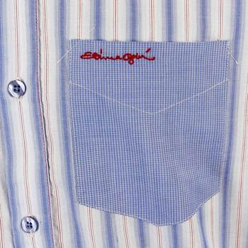 Etienne Ozeki sky blue striped shirt ETIE2695