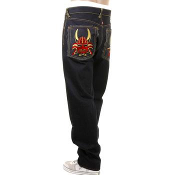 RMC Super Exclusive Japanese General Embroidered 1001 Slim Cut Selvedge Dark Indigo Raw Denim Jeans REDM1004