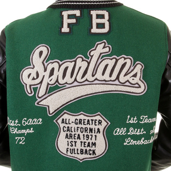 Sugarcane Letterman WV12310 Green and Black Spartans Stadium Award Jacket for Men with Leather Sleeves CANE1092