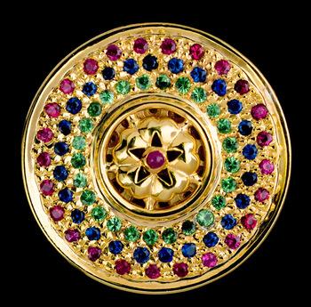 RMC Martin Ksohoh Precious Stone Green Garnet Custom Made Button Set in Gift Box RMC2380