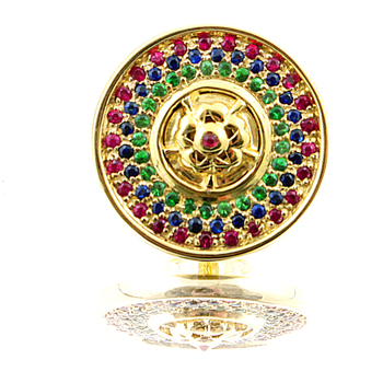 RMC Martin Ksohoh Precious Stone Ruby Blue Sapphire Custom Made Button Set in Gift Box RMC2340