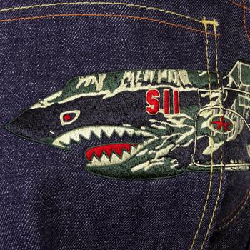 RMC Martin Ksohoh RQP11118 Dark Indigo Tiger Camo Plane Embroidered Unwashed Denim Jeans REDM1241