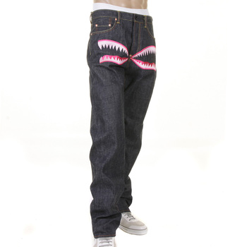 RMC Jeans RQP11050 Unwashed 1001 Slimmer Cut Model Embroidered Pink Camo Selvedge Raw Denim Jeans REDM1243