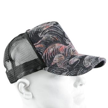 RMC Jeans Mens Black Mesh Cap with Pink Flocked Tsunami Wave Design REDM5902