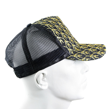 RMC Jeans Gold Embroidered Black Mesh Logo Cap for Men REDM9097