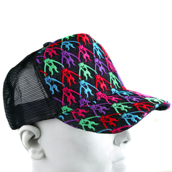 RMC Jeans Multi Colour Combo Mens Embroidered Cap with Black Mesh REDM9101