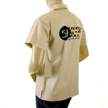 Evisu Khaki Cotton Cuban Collar Early Original Short Sleeve Regular Fit Station Shirt EVIS2351