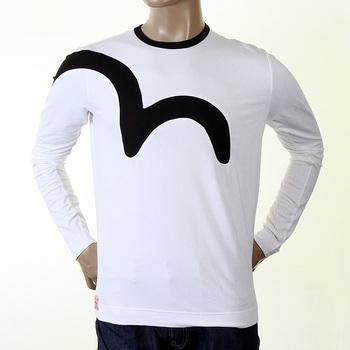 Evisu Early Original Long Sleeve Crew Neck White T Shirt with Black Logo Insert EVIS0009