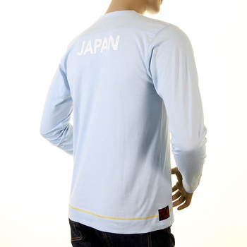 Evisu Mens Early Genuine and Rare Sky Blue Cotton Long Sleeve Crew Neck Large Fitting T Shirt EVIS1539