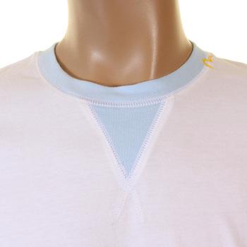 Evisu Maniacs Genuine Rare Crew Neck White T-Shirt with Sky Side Panels EVIS1253