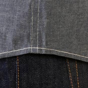 Sugarcane Navy Chambray SC25638N Vintage Cut Regular Fit Long Sleeve Non Wash Workwear Shirt for Men CANE2021