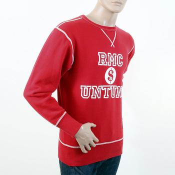 RMC Martin Ksohoh Regular Fitting RWH141263 Washed Red Crewneck Sweatshirt with Dollar UNTUNK Print REDM1033