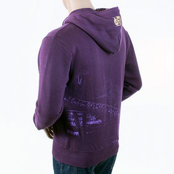 RMC Jeans Regular Fitting RJK141162 Zipped Front Hooded Purple Sweatshirt with Toyo Story Bridge Print REDM1068